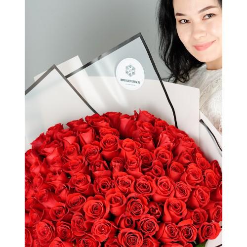 Купить на заказ Букет из 101 красной розы с доставкой в Серебрянске